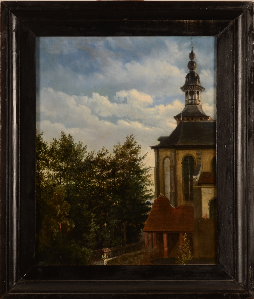 Unknown follower of François Boulanger, 19th century oil painting — detailed impression of a clock tower and garden lit by a delicate sun