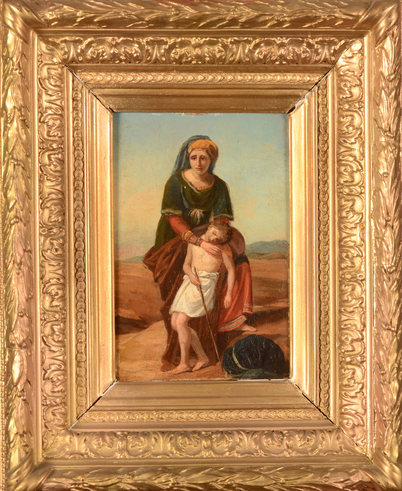 Hagar and Ismail — The painting in its 19th century frame