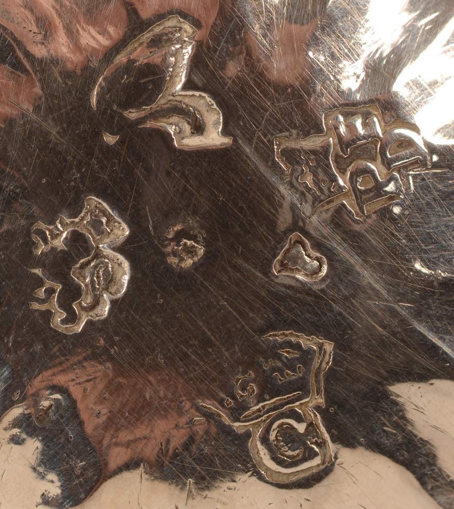 Valenciennes — Detail of the marks on the bottom of the piece. Master silversmith De Baralle Pierre-François