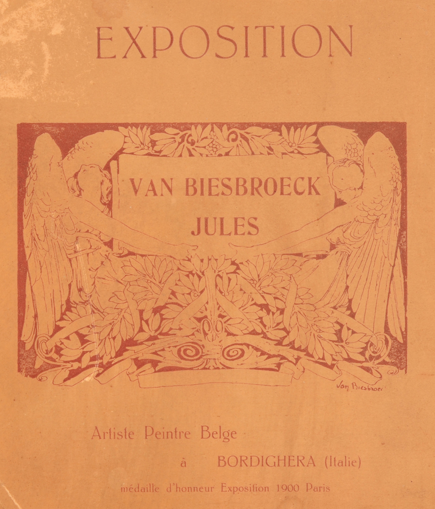 Jules Van Biesbroeck — <p>Detail of the very nice promotional exhibition label at the back of the panel</p>