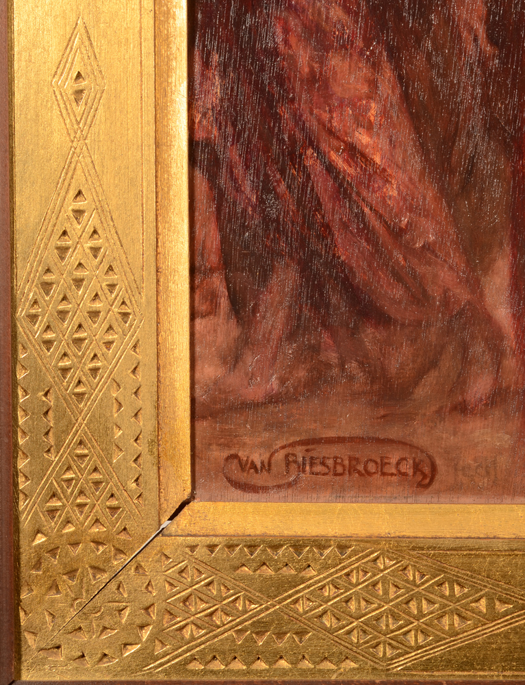 Jules Van Biesbroeck — Signature of the artist, bottom left and a detail of the orientalist frame