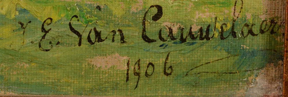 Jean Emile Van Cauwelaert — Signature and date of the artist bottom right, partially under the frame.
