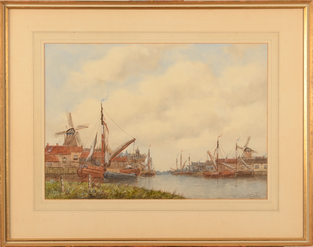 Jan Van Couver (H. Koekkoek Jr.) — The watercolour in its frame, probably made for the English market