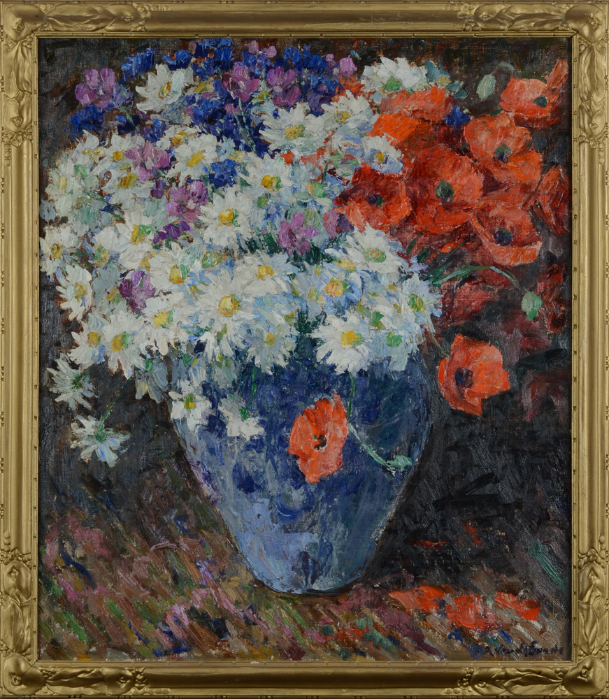 Rene Van De Sande — A fauve painting of flowers in a vase.