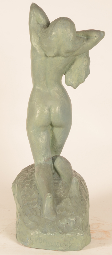 Gustave Van den Meersche — Back of the sculpture, the pose with the elbows upwards will be used again in a later sculpture
