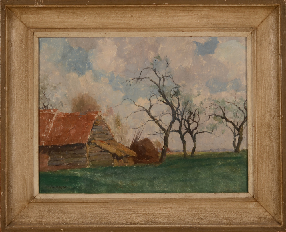 Karel Van Lerberghe The Apple Trees — oil on board in its frame