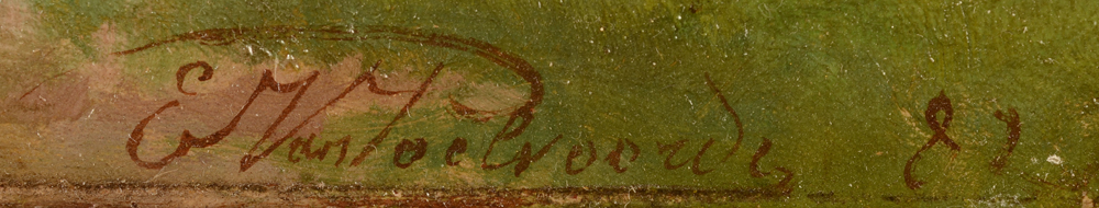 Ernest Van Poelvoorde — Signature and date of the painting with the wagon