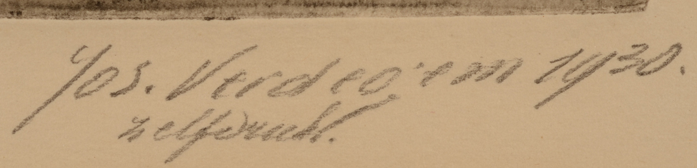 Jos Verdegem — Signature of the artist in pencil, together with date and inscription Zelfdruk