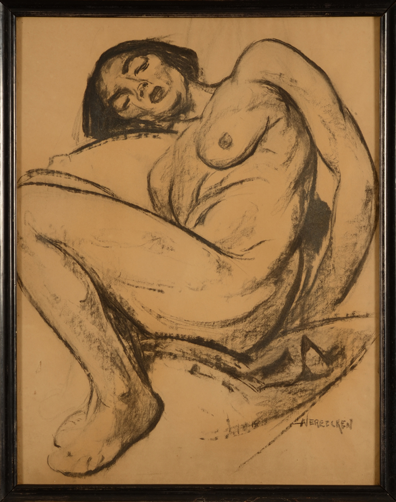 Achille Vereecken — A very bold drawing of a reclining nude, probably end of the 1920's.