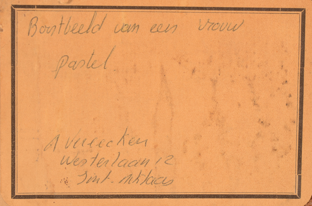 André Vereecken — Label with title at the back
