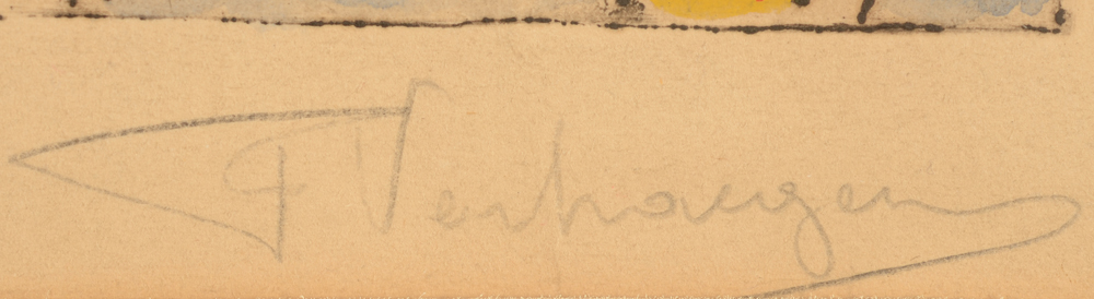 Fernand Verhaeghen — Signature of the artist in pencil, bottom right