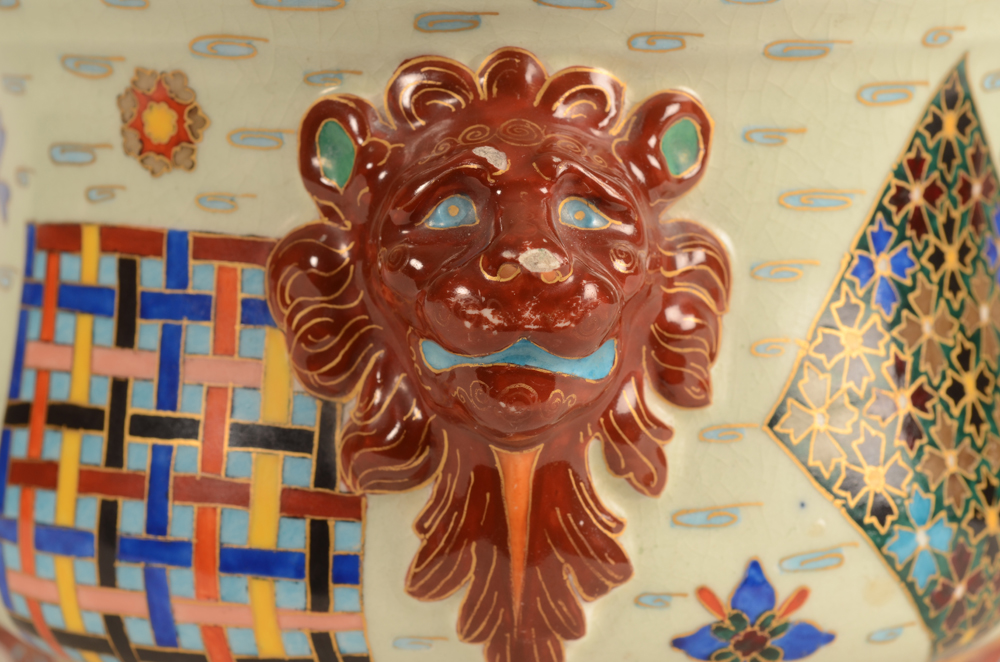 Vermeren-Coche — detail of on of the lions heads, showing some flaking of the red glaze