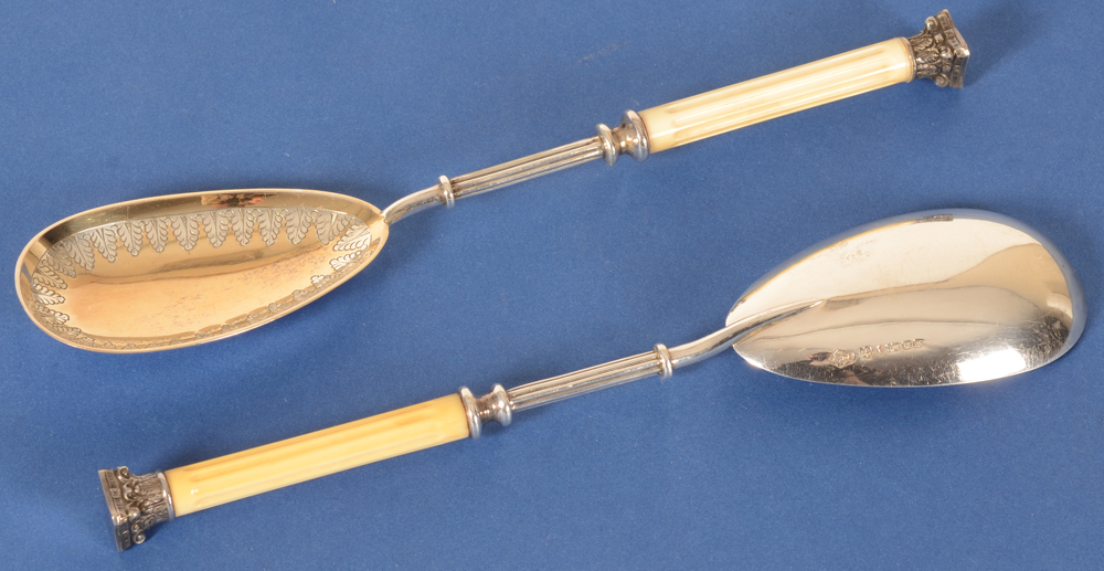 Victorian electroplated spoons — Detail of a pair of spoons, showing back and front