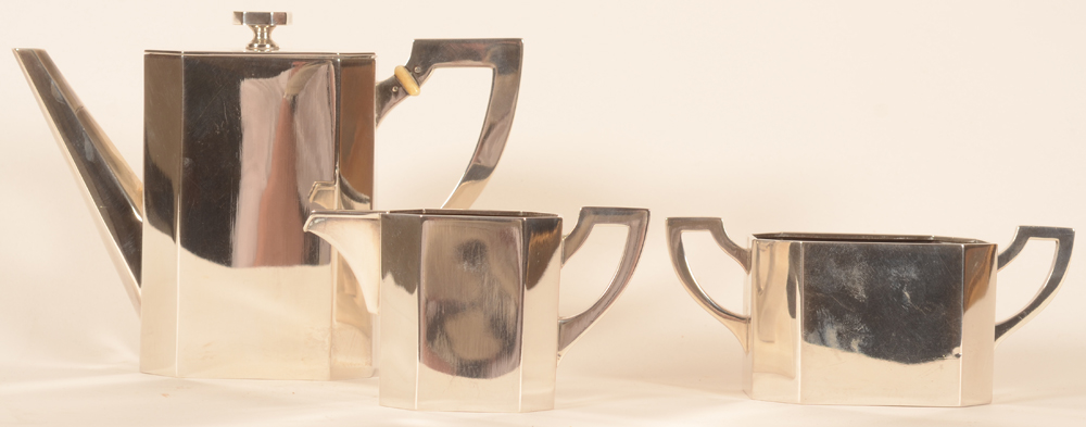 Viennese art deco silver coffee set — view from the side