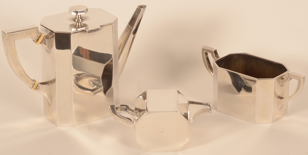 Viennese art deco silver coffee set — Alternate view, showing the hinge of the coffee pot