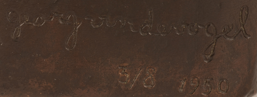 Geo Vindevogel — Signature of the artist, date and justification at the back of the sculpture