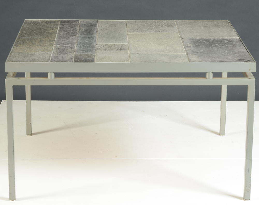 slate coffeetable — Side view, showing the metal base