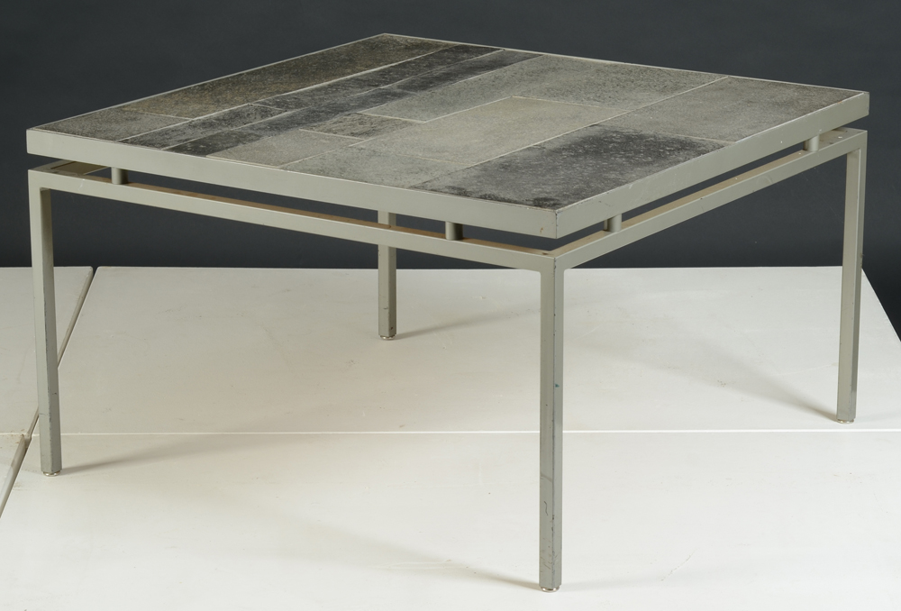 slate coffeetable — A good slate coffeetable with an elegant base in metal