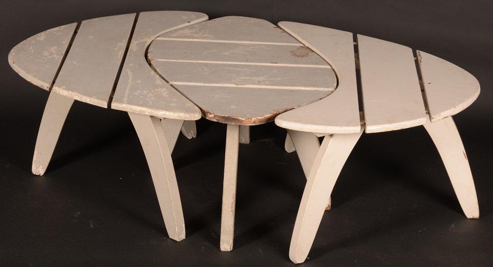 Set of garden tables — A good set of nesting side tables, probably 1950's