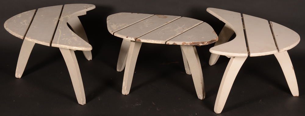 Set of Garden Tables — the tables can form one table or three separate tables