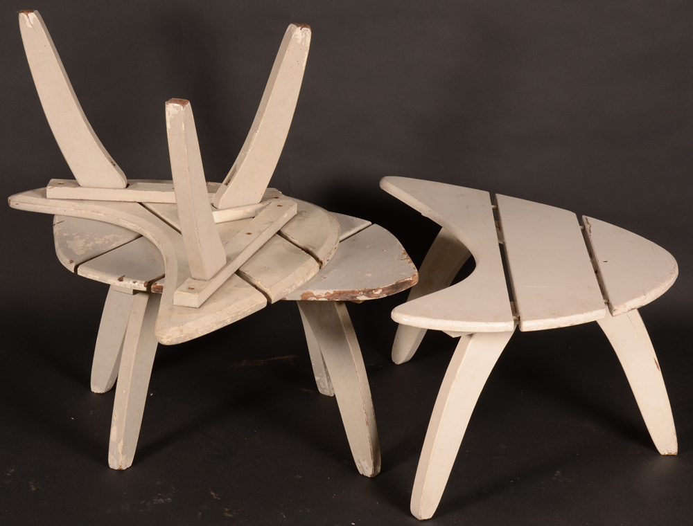Set of Garden Tables — Of typical 1950's design and in unrestored condition.