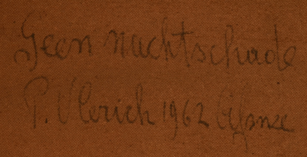 Pierre Vlerick — title, signature and date on the back of the painting