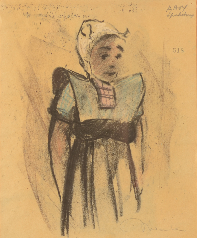 Jef Wauters girl from Spakenburg — Meisje in traditionele klederdracht, tekening