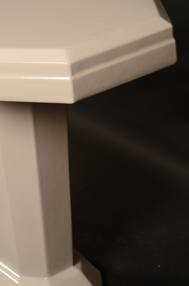 white ceramic art deco table — Profile from another angle