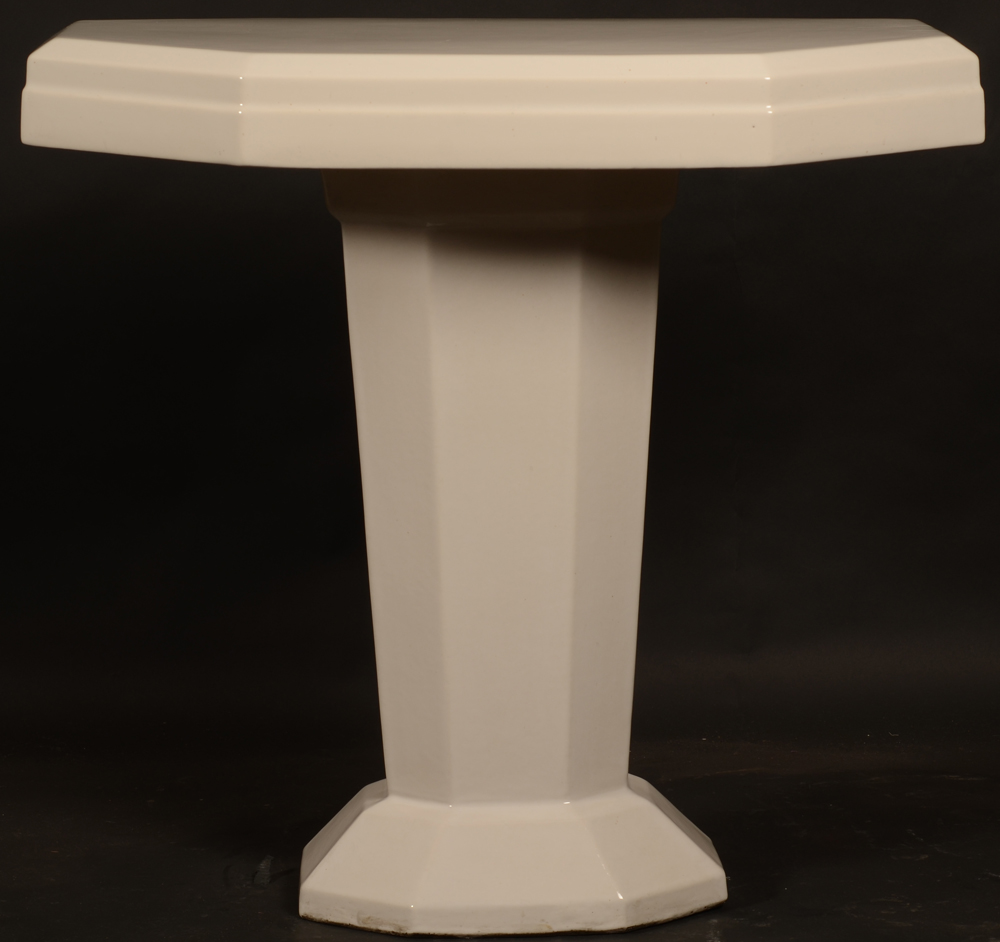 white ceramic art deco table — View from below