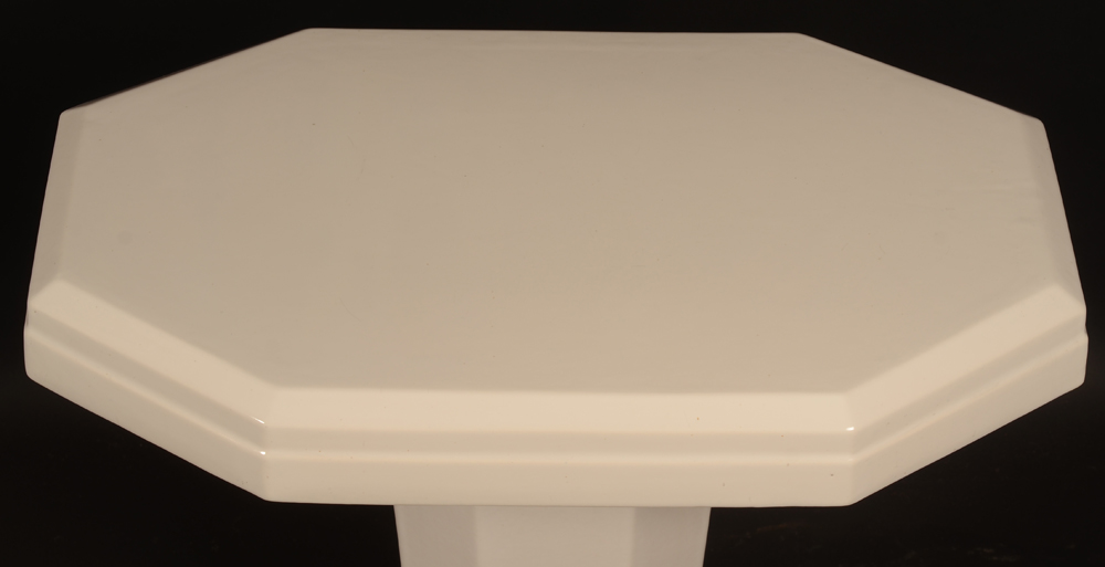 white ceramic art deco table — Top of the table