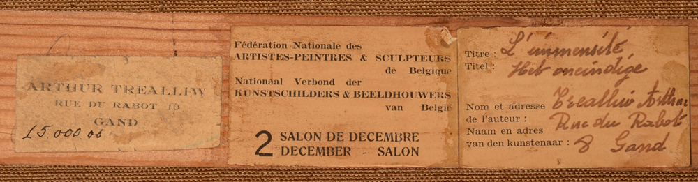 Arthur Willaert — Exhibition labels on the back of the strecher