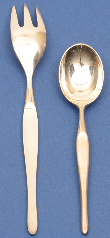 Tapio Wirkkala — Duo, cake fork (showing back side) and coffee spoon.
