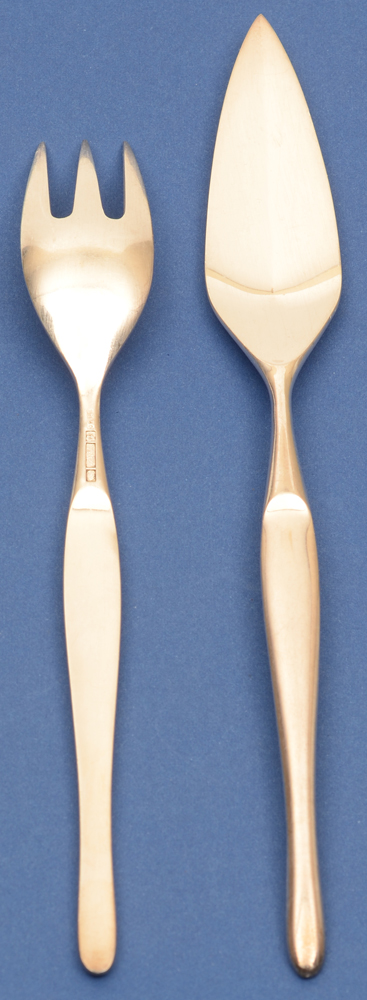 Tapio Wirkkala — Duo: fish knife and fork, fork showing back side