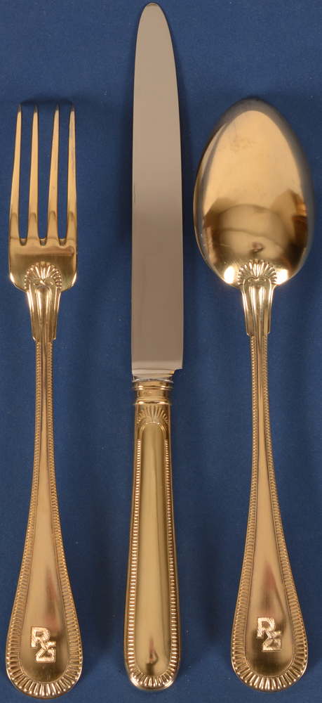 Wolfers Frères — Back of the silver gilt cutlery