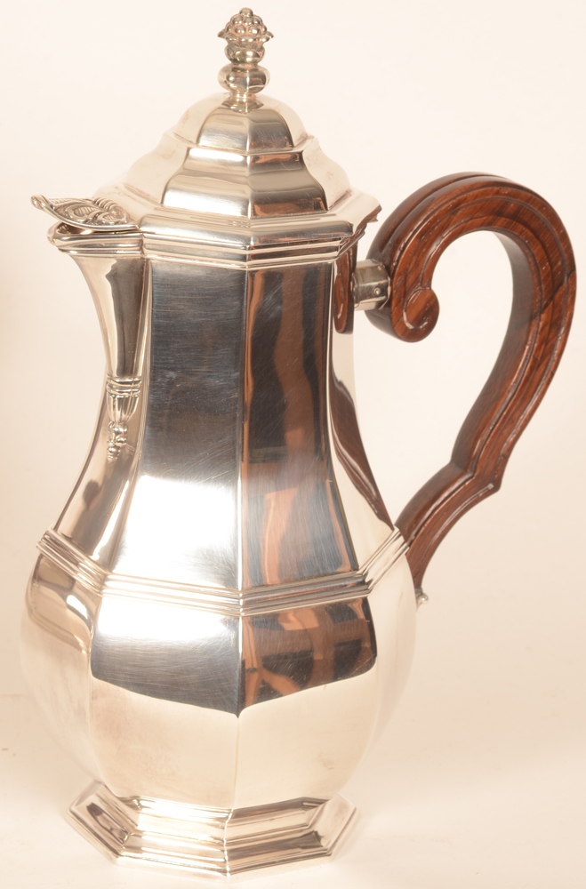 Wolfers Frères — the silver and wood coffee pot, height 28 cm