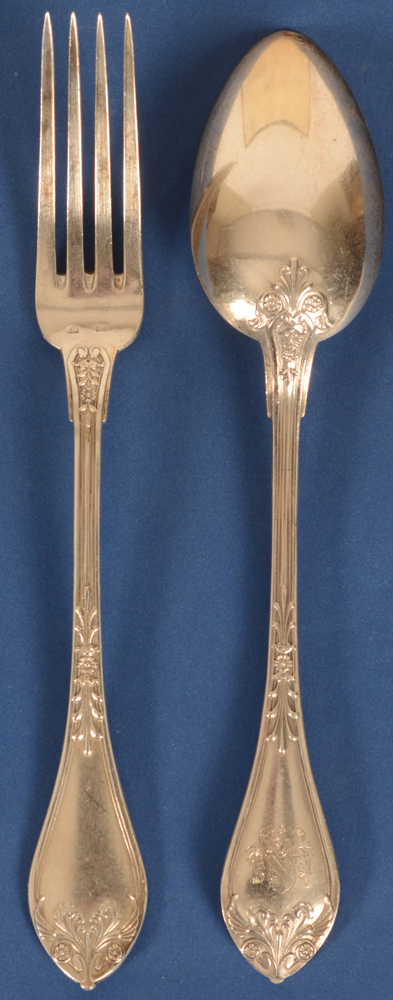 Wolfers Frères — Detail of the large fork and spoon, the spoon showing the backside