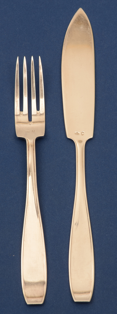 Wolfers Frères — <p>Fish fork and fish knive in silver</p>