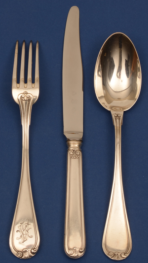 Wolfers Freres — Silver fork, knife and spoon in the 225 LXV pattern by Wolfers Freres (Brussels)