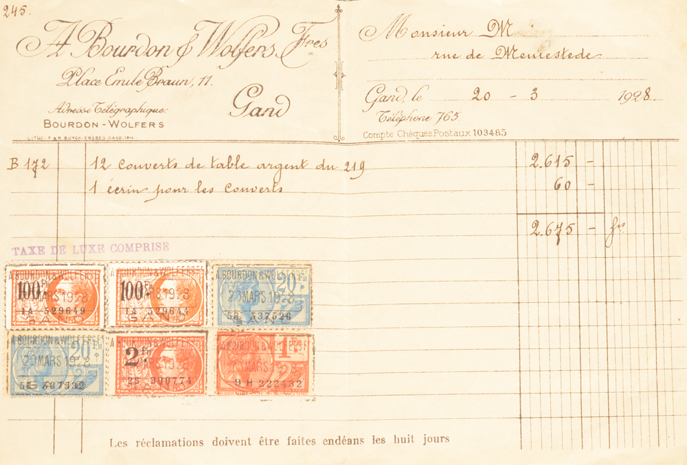 Wolfers Freres 219 L XVI laurier — Sold together with the original invoice of 1928