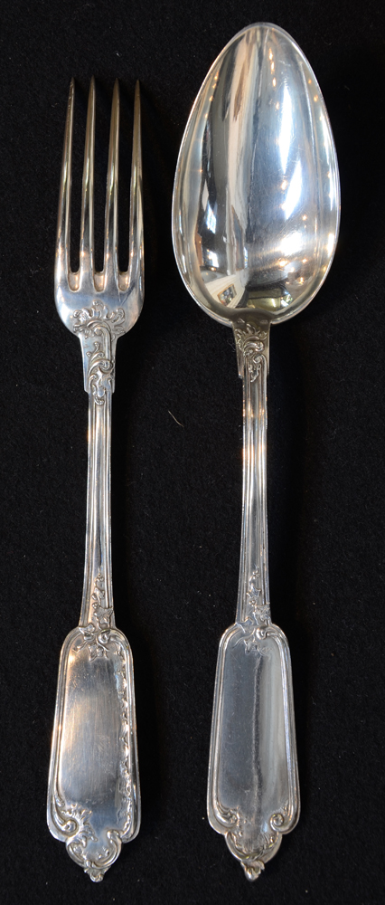 Wolfers Freres — A proto art nouveau fork and spoon in zilver, model number 110.