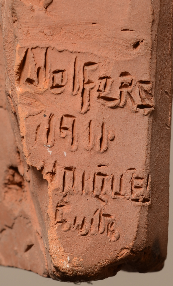 Marcel Wolfers — Signature of the artist and date incised in the wet clay, also with mention 'Unique'