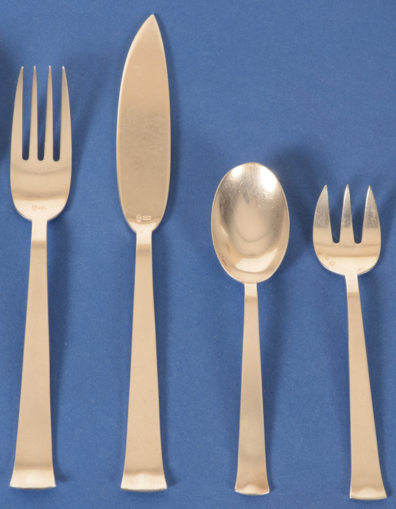 Marcel Wolfers — Detail of the fish fork and knife, coffee spoon and oyster fork