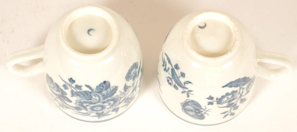2 18th century Worcester porcelain cups — marked with the 1st period blue crescent