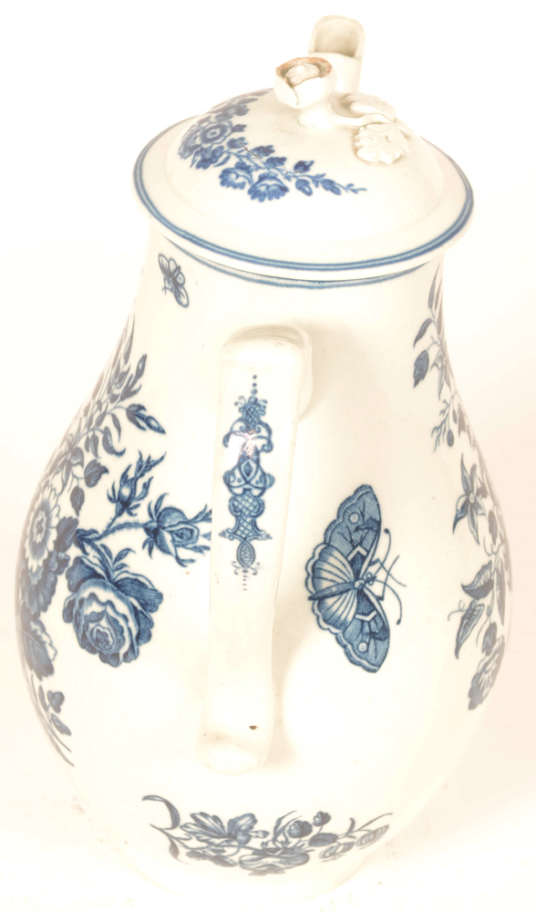 Worcester 18th century porcelain coffee pot — detail of the handle