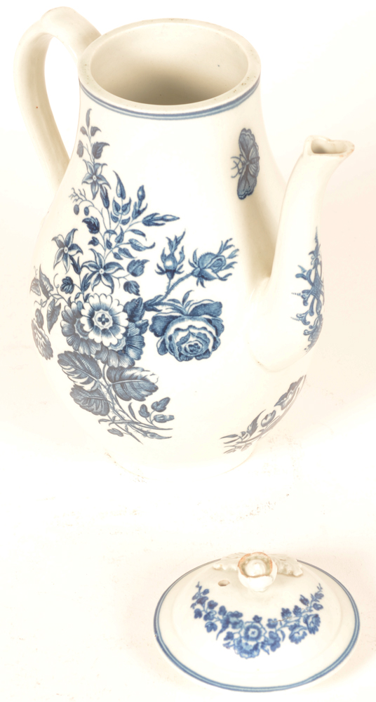 Worcester 18th century porcelain coffee pot — Dr. Wall period, opened, a minor chip to the spout