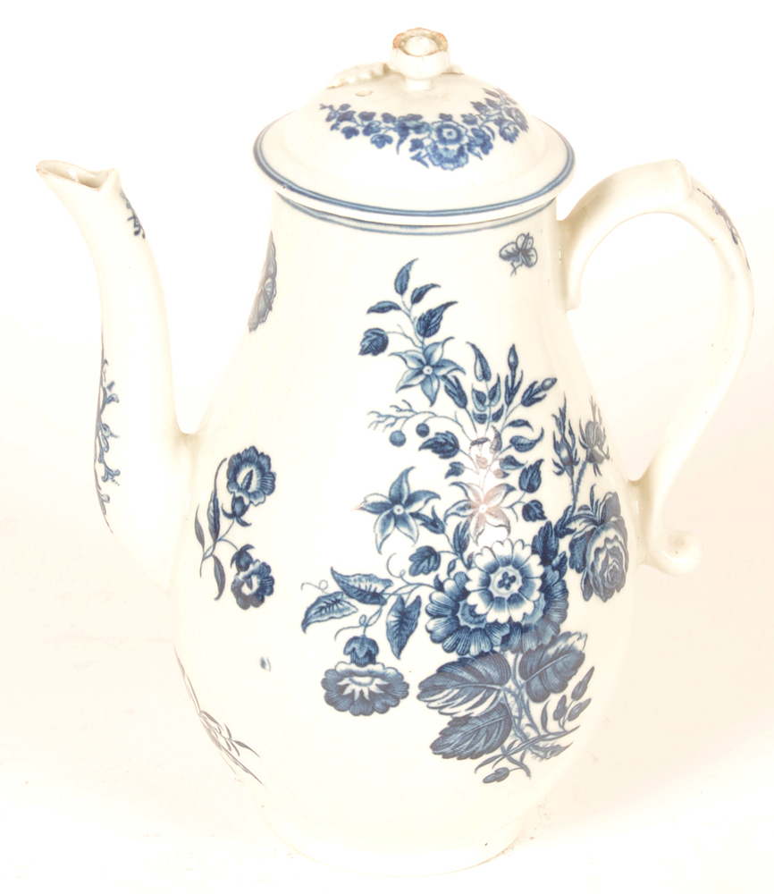 Worcester 18th century porcelain coffee pot — with lid, front view, 1st period, the three flowers pattern with butterflies