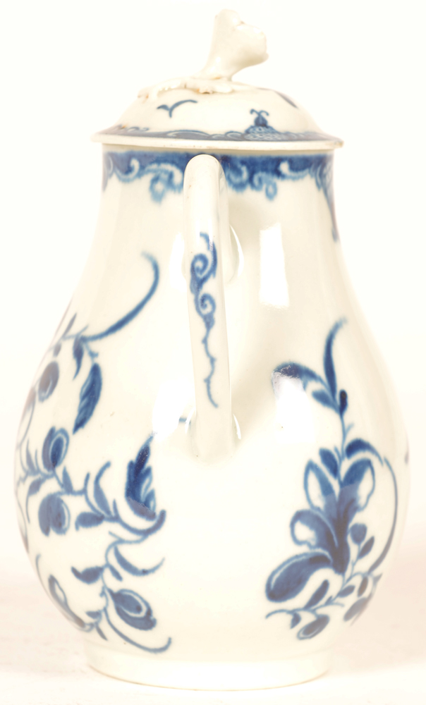 Worcester 18th century porcelain cream pitcher with lid — Worcester creamer, handle