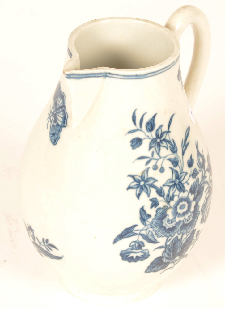 18th century Worcester porcelain milk ewer — decorated in 1st period underglaze blue transfer printed pattern
