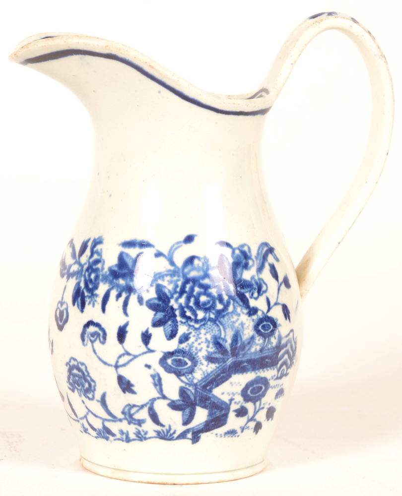 18th century Worcester porcelain milk jug — in 1st period transfer printed underglaze blue fence pattern