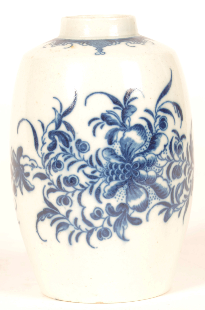 18th century Worcester tea canister — decorated in underglaze blue transfer printed Mansfield pattern